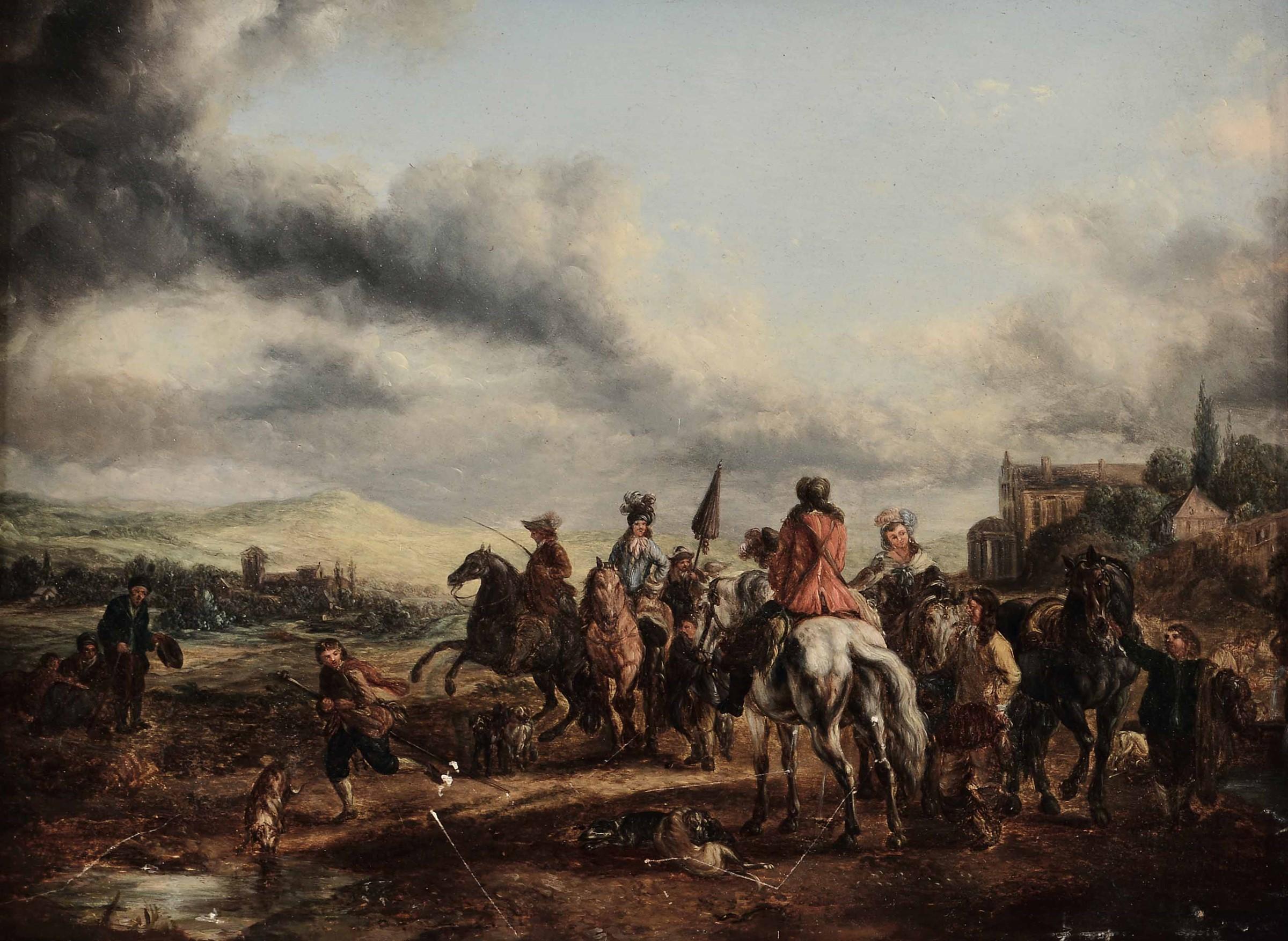 Scuola fiamminga del XVIII secolo, Paesaggi con personaggi a cavallo - coppia di [...]