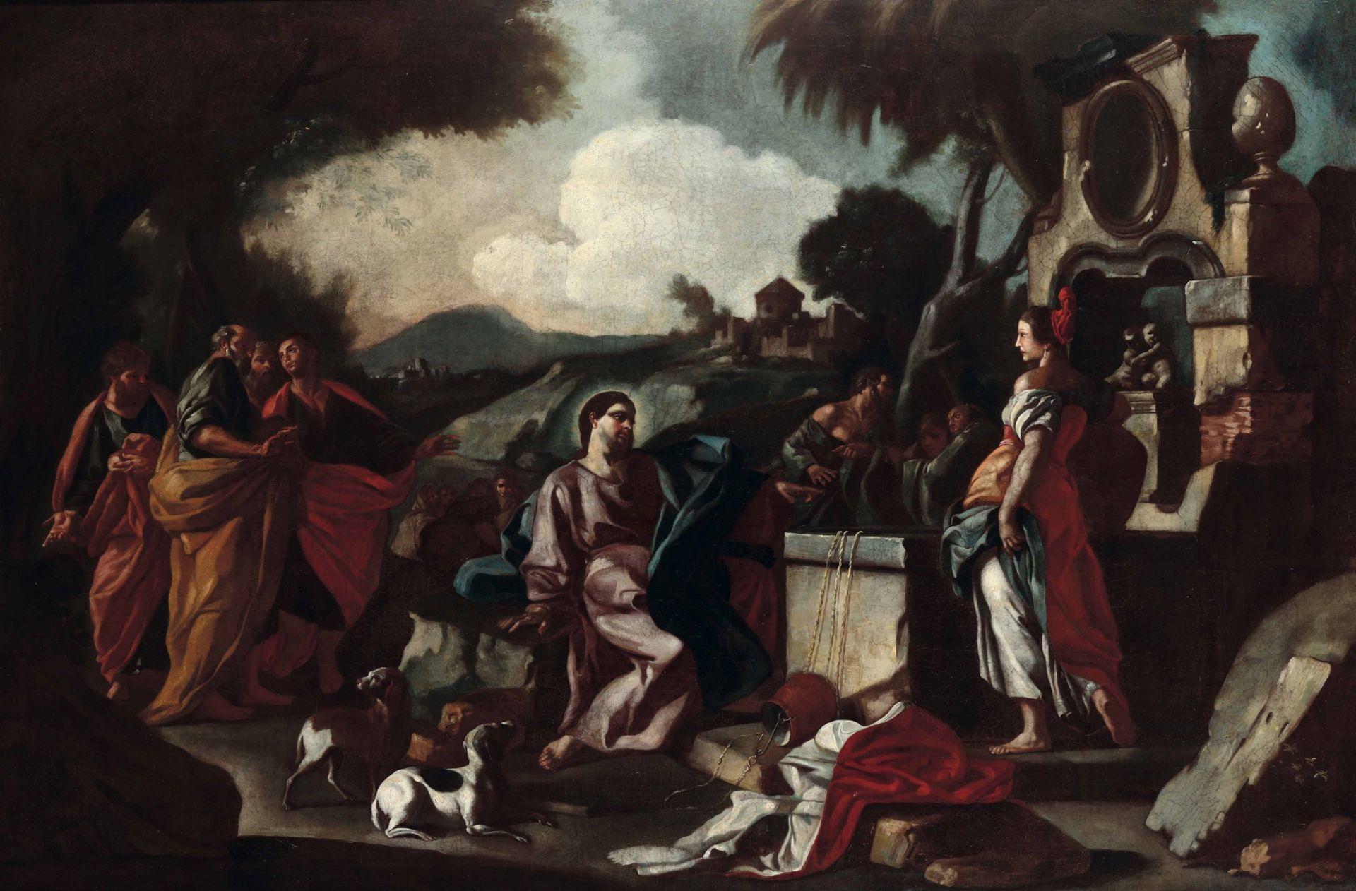 Los 27 - Francesco De Mura (Napoli 1696-1782), ambito di, Cristo e la Samaritana al pozzo - [...]