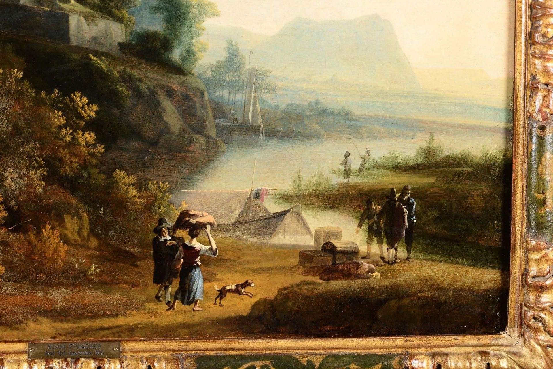 Los 32 - Adam Pynacker (Delft 1620 - Amsterdam 1673), Paesaggio fluviale con personaggi e [...]