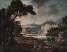 Scuola del XVIII secolo, Paesaggi con contadini e pastori - coppia di dipinti ad olio [...]