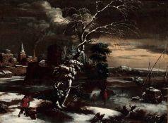 Frans de Momper (Anversa 1603-1660), attribuito a, Paesaggio invernale in Fiandra - [...]