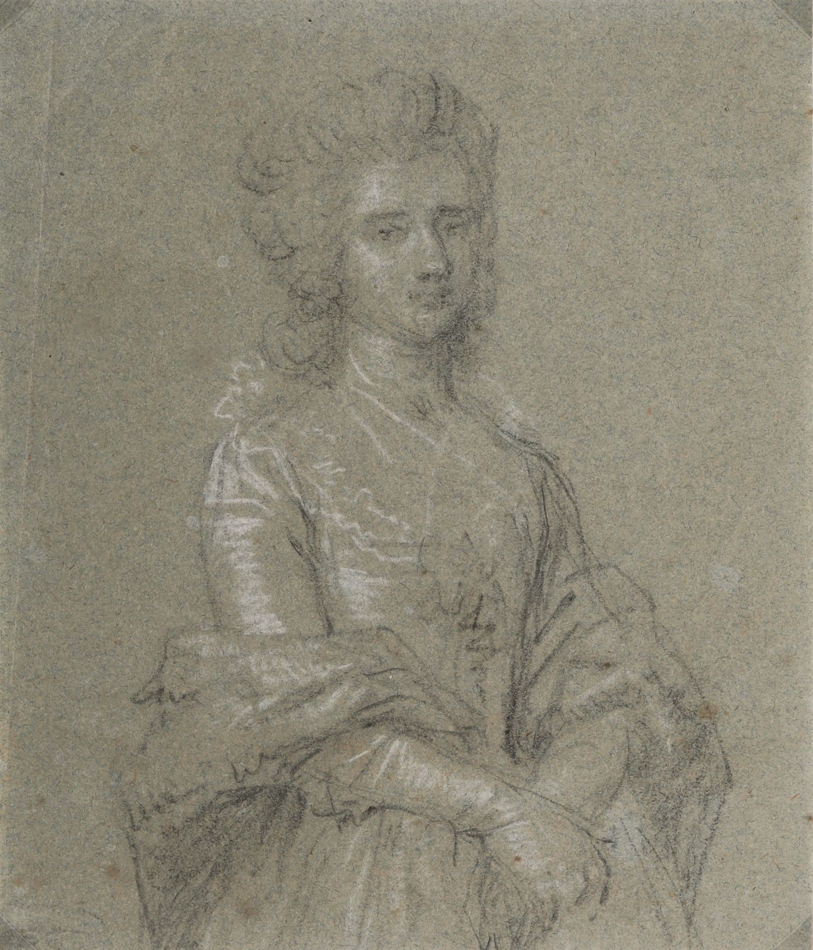 Los 1 - Pietro Longhi (Venezia 1702-1785), Ritratto femminile - matita nera e gessetto bianco [...]