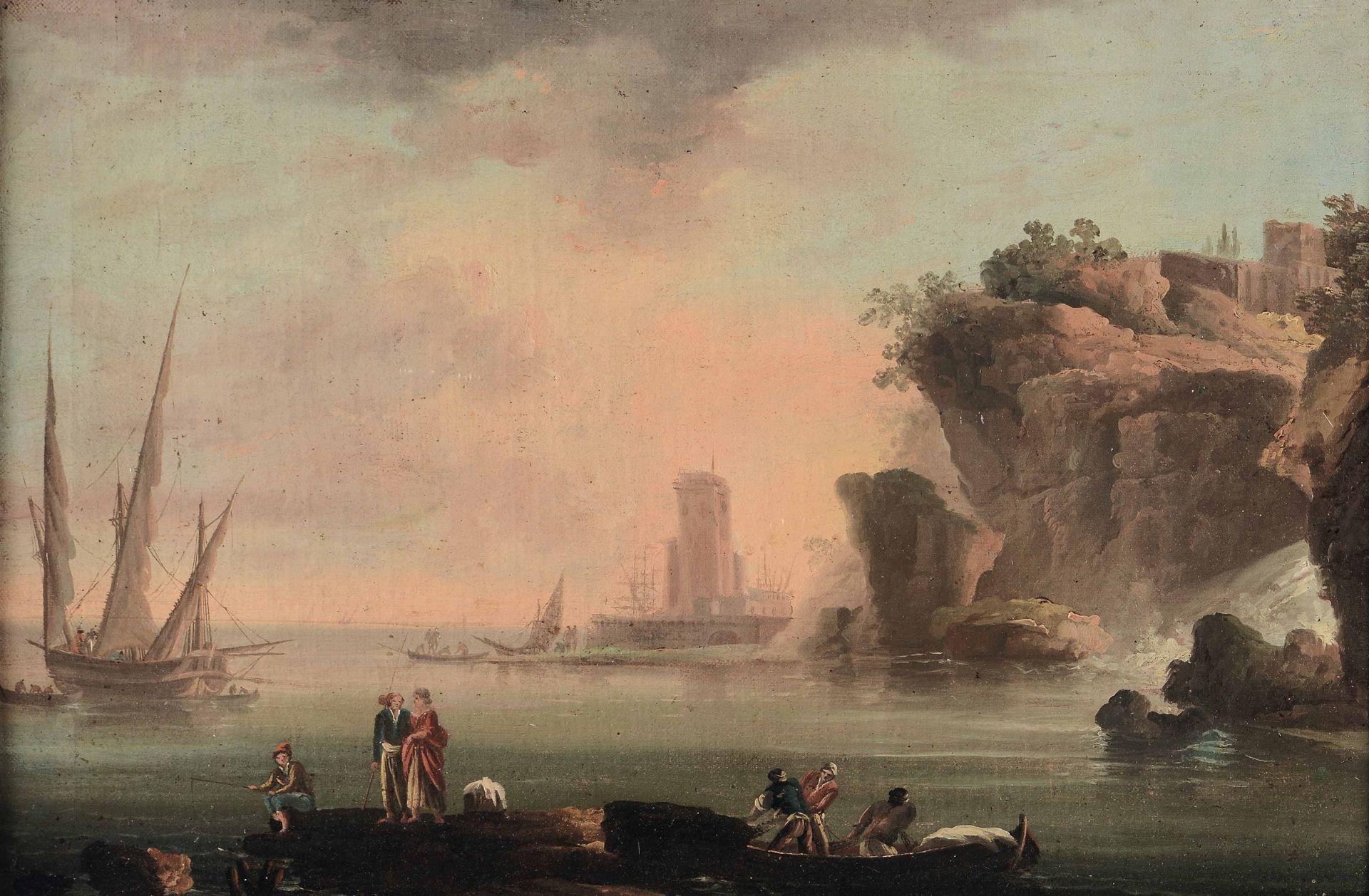 Francesco Fidanza (Roma 1747 - Milano 1819), attribuito a, Veduta costiera con [...]