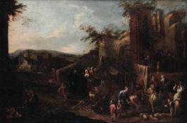 Pietro Domenico Olivero (Torino 1672-1754/55), Scena con popolani e rovine sullo [...]