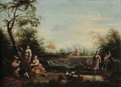 Scuola veneta del XVIII secolo, Paesaggi con scene popolari - coppia di dipinti ad [...]
