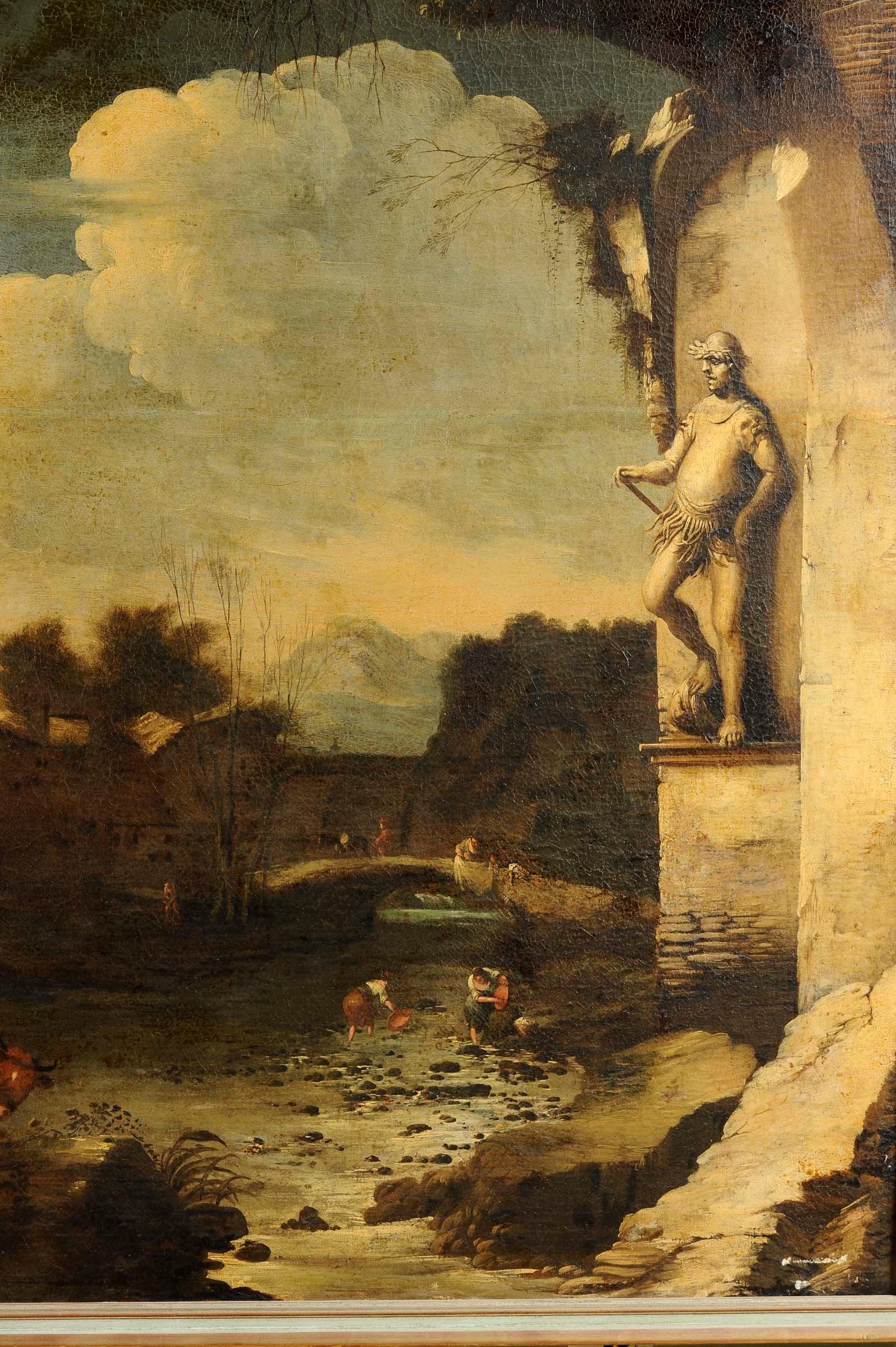 Lot 25 - Antonio Travi detto il Sestri (Genova 1608-1665), Paesaggio con rovine e figure - [...]