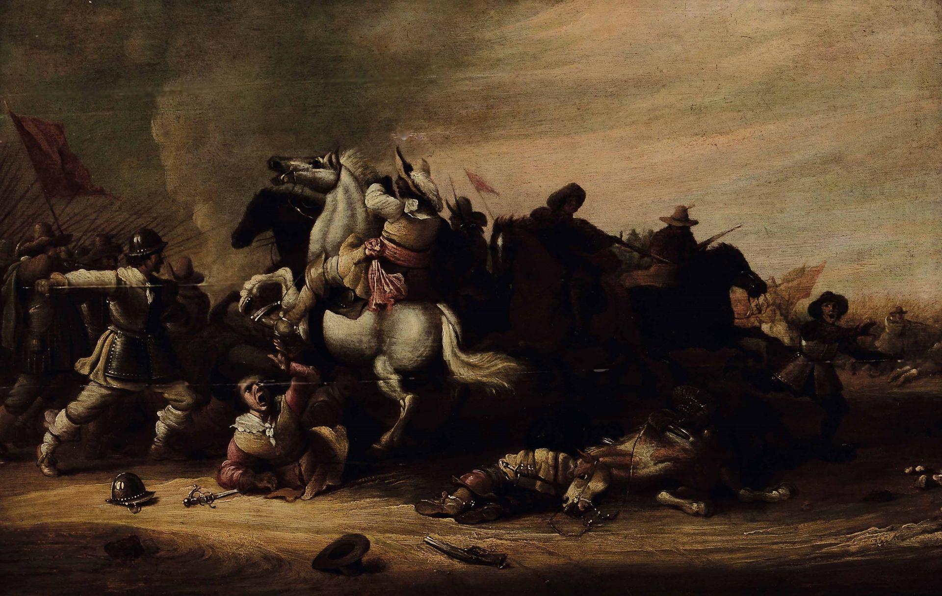Los 58 - Esaias van de Velde (Amsterdam 1587 - L'Aia 1630), Scena di battaglia - olio su [...]
