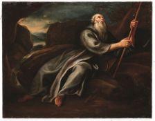 Scuola genovese del XVIII secolo, S. Antonio Abate - olio su tela, cm 57x73 -