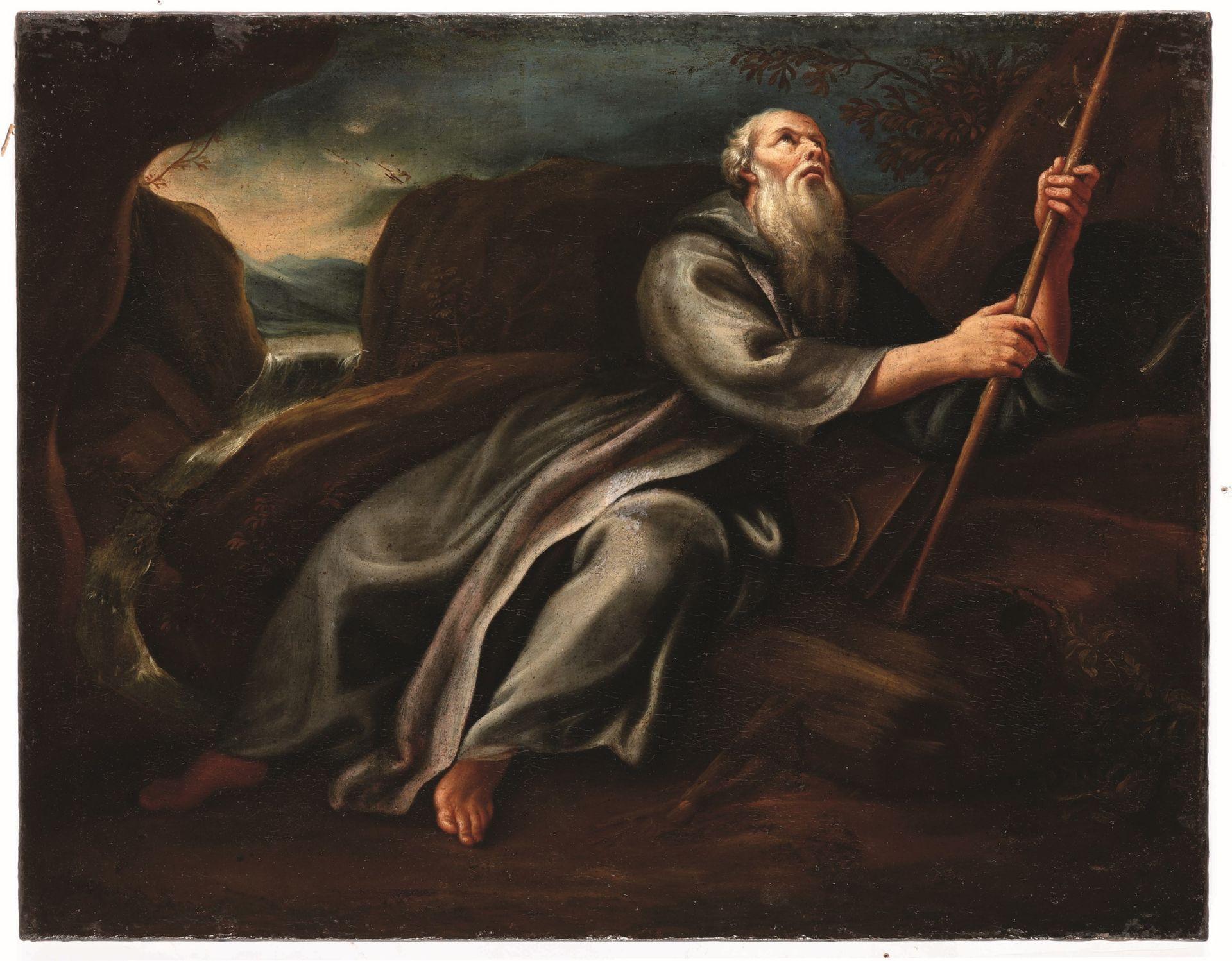 Los 14 - Scuola genovese del XVIII secolo, S. Antonio Abate - olio su tela, cm 57x73 -