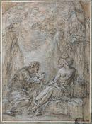 Scuola italiana dell'inizio del XVIII secolo, Cristo e la Samaritana - matita nera e [...]