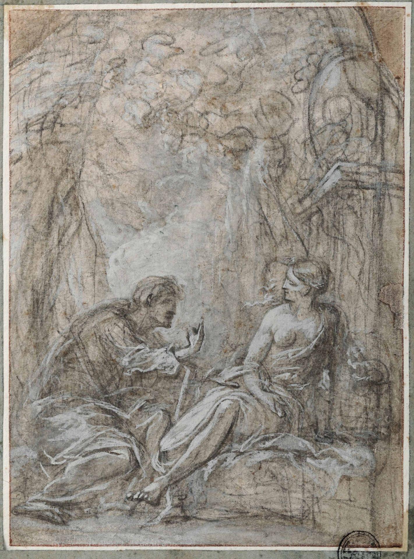 Los 2 - Scuola italiana dell'inizio del XVIII secolo, Cristo e la Samaritana - matita nera e [...]