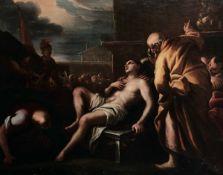 Scuola napoletana del XVII secolo, Martirio di San Lorenzo - olio su tela, cm 102x129 -