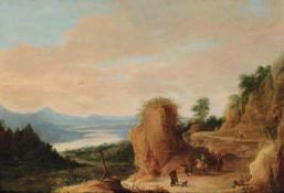 Joos de Momper (1564-1635), Paesaggio con viandanti - olio su tavola, cm 54x78 -