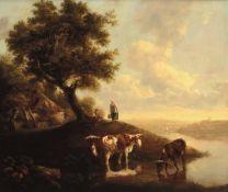 Paulus Potter (Enkhuizen 1625 - Amsterdam 1654), Paesaggio con figure e bestiame - [...]