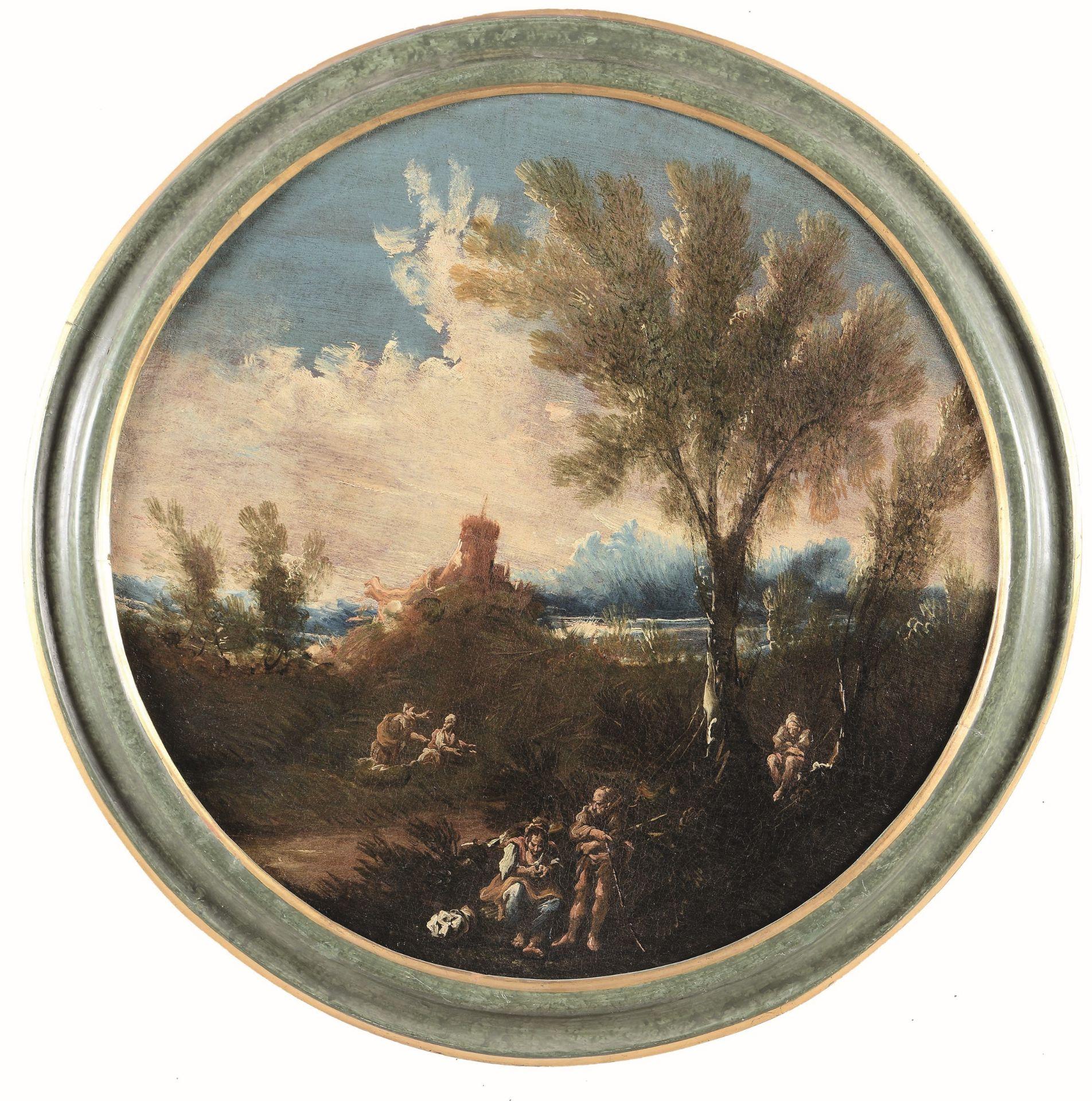 Los 35 - Anton Francesco Peruzzini (Ancona 1643 - Milano 1724), Paesaggio con contadini - [...]