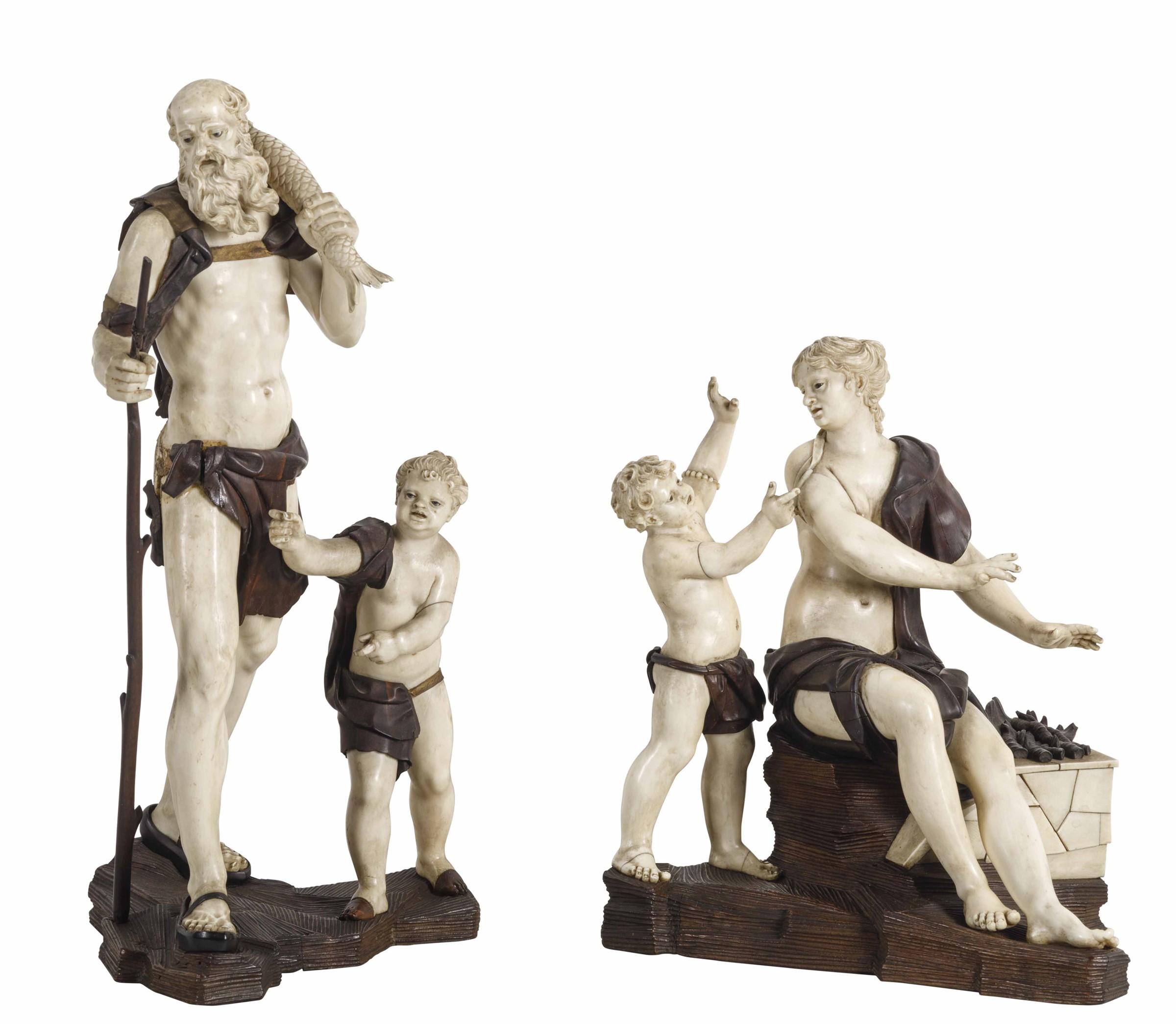 Lot 154 - La famiglia del pescatore. Avorio, essenze lignee e vetro. Simon Troger (1683-1768). [...]