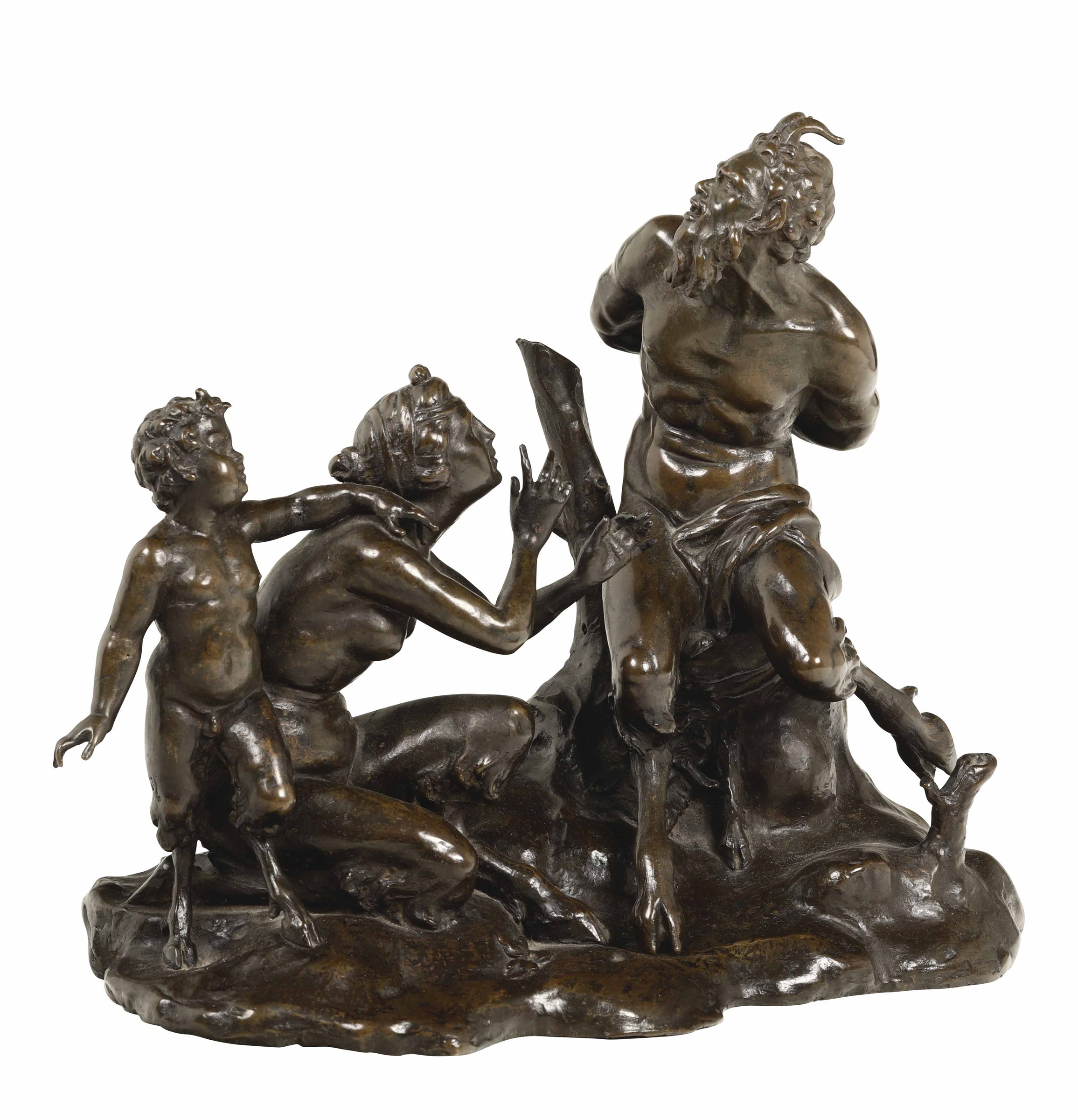 Lot 116 - Pan e Siringa. Bronzo fuso e cesellato, Francia (?) probabile XVII secolo, - cm [...]