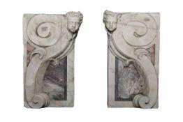 Coppia di mensole in marmo bianco e breccia colorata. Arte barocca italiana, [...]