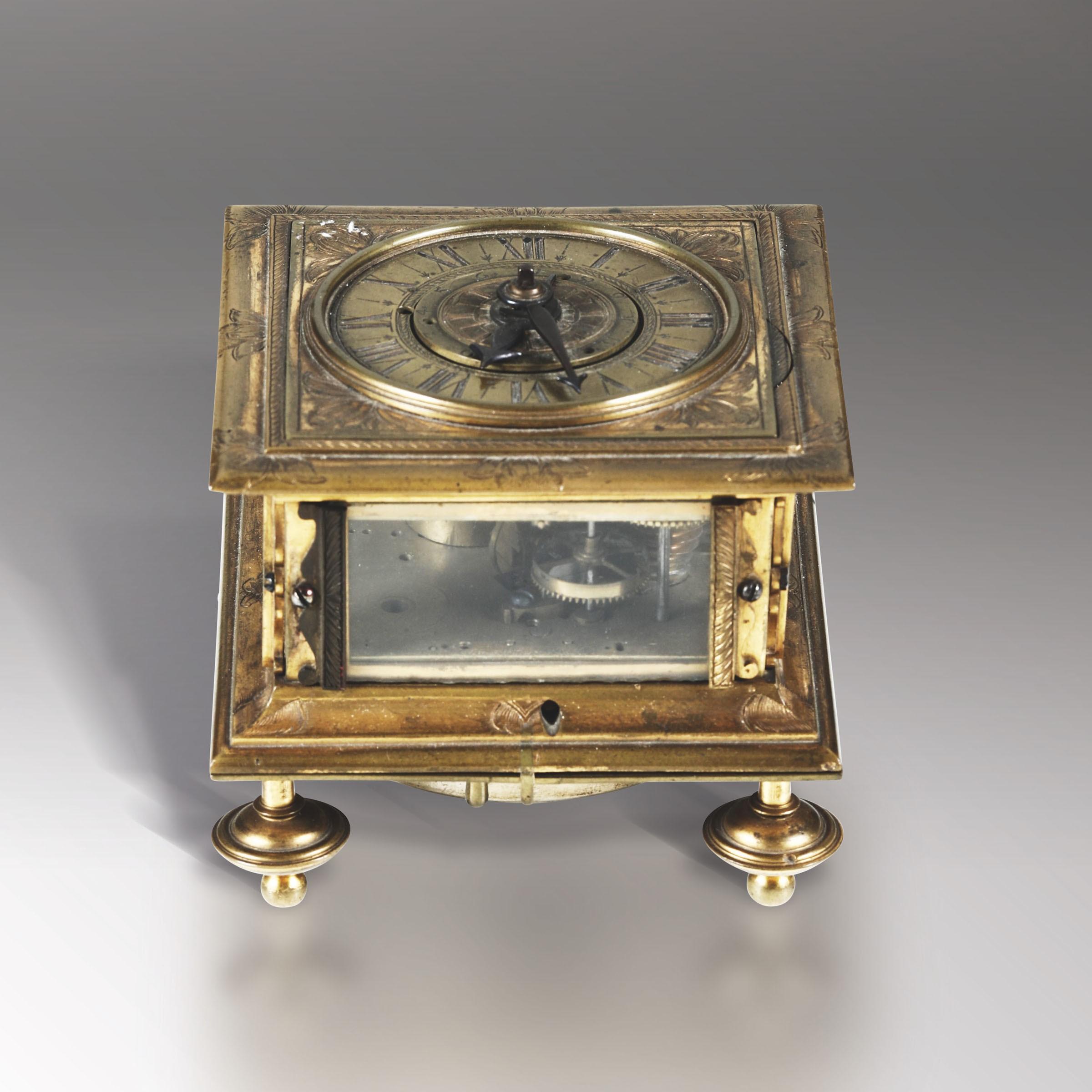 Lot 122 - Orologio a saliera in bronzo dorato con quadrante orizzontale. Davide Weberstug, XVII [...]