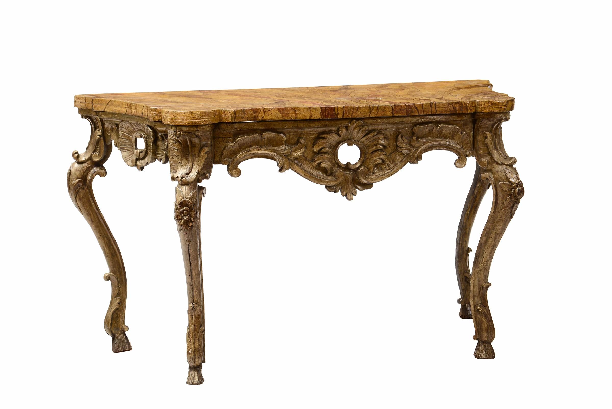 Lot 136 - Coppia di consolle Luigi XIV in legno intagliato e dorato a mecca, Napoli XVIII [...]