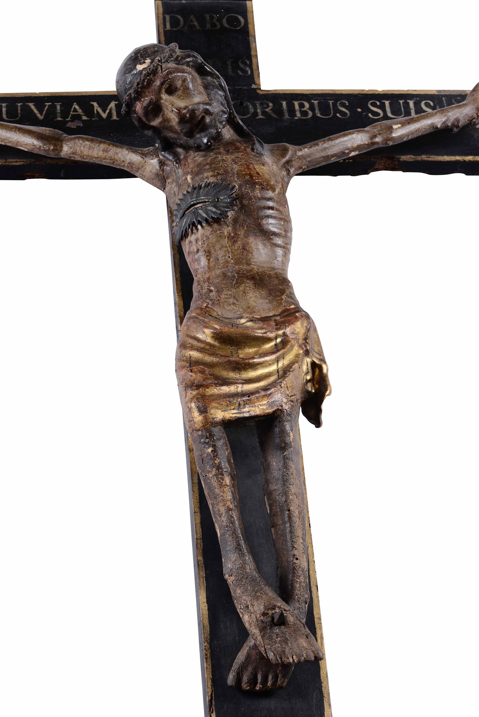 Lot 101 - Crocifisso ligneo, scultore toscano della fine del XIV, inizio XV secolo, - cm [...]