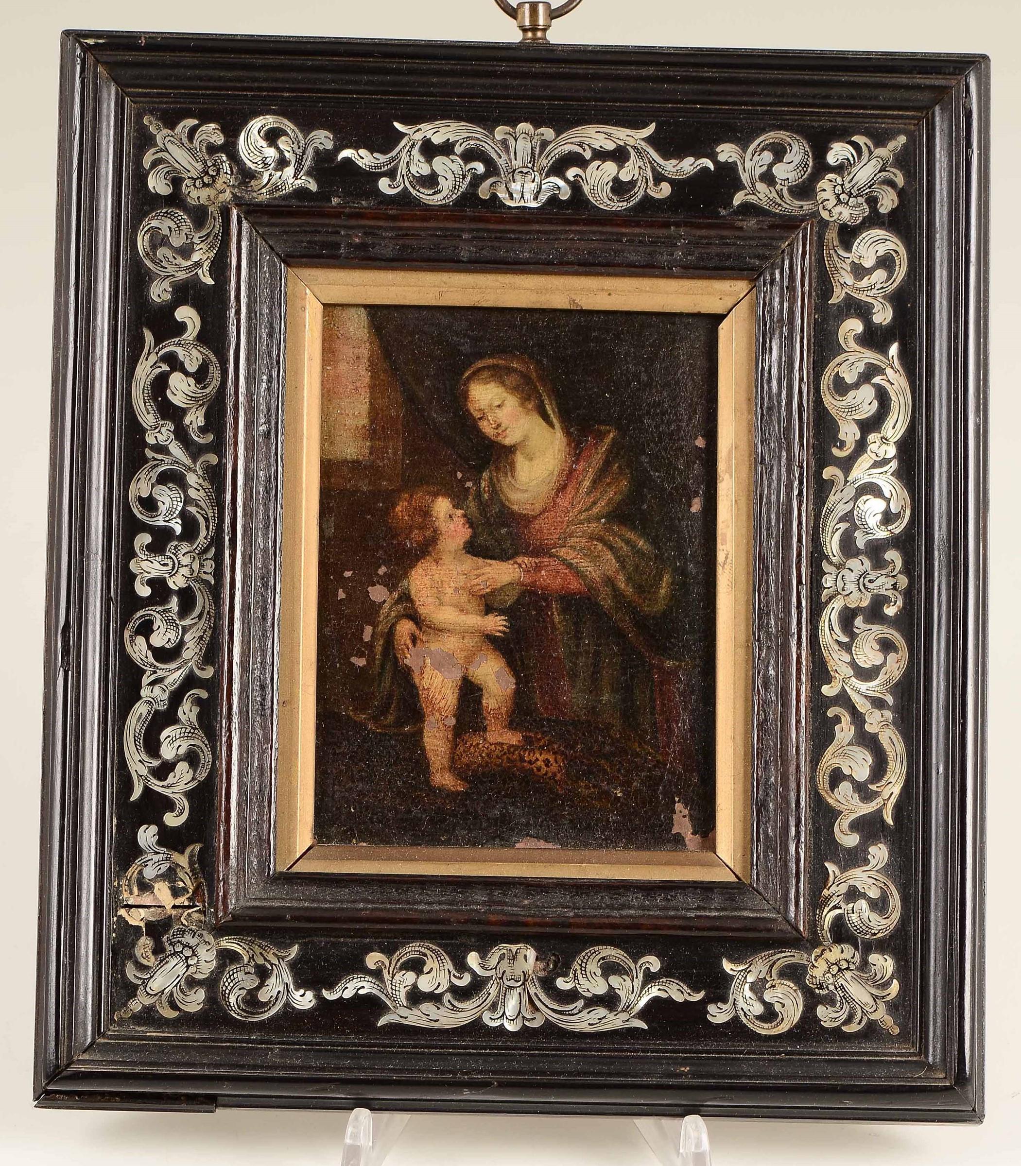 Lot 155 - Cornice in legno intarsiato in madreperla, XIX secolo, - cm 24x21, con dipinto ad [...]