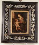 Cornice in legno intarsiato in madreperla, XIX secolo, - cm 24x21, con dipinto ad [...]