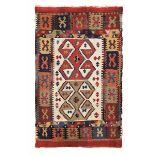 Raro kilim Konya, Anatolia centrale XIX secolo, - campo chiaro con due gul cm 139x85 -
