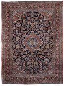 Tappeto persiano metà XX secolo, - campo blu con decoro floreale, cm 386x282 -