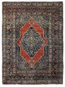 Tappeto Tabriz, Persia inizio XX secolo, - campo mattone con medaglione blu, cm [...]