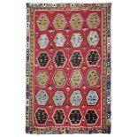 Kilim Persia inizio XX secolo, - campo rosso con file di medaglion iripetuti bordura [...]