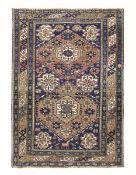 Tappeto Shirvan, Caucaso fine XIX secolo, - campo blu con due medaglioni, cm130x92 -