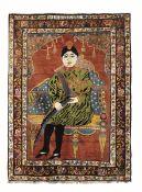 Tappeto Karabagh, Caucaso datato 1932, - raffigurante dignitario di corte, cm 200x147 -