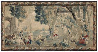 Arazzo fine XVII inizio XIX secolo, - raffigurante scena campestre, cm 482x252 -