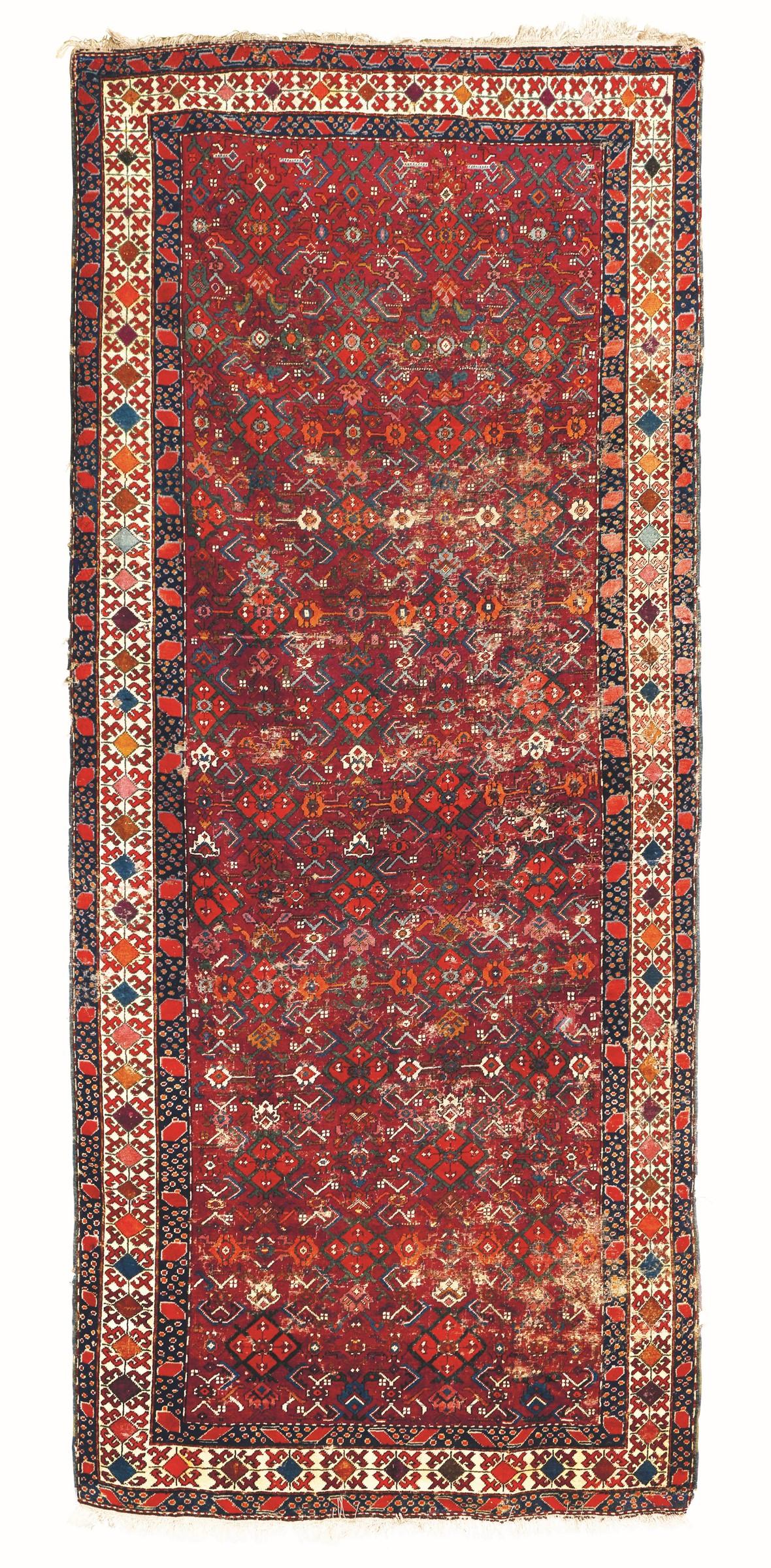 Kelley Malayer, Persia XX secolo, - campo rosso con decoro herati, cm 475x214 -