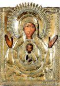 Icona con riza in metallo dorato raffigurante Madre di Dio nel segno. Russia XIX-XX [...]