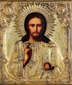 Icona con riza in metallo dorato raffigurante Cristo Pantocrator. Russia XIX-XX [...]