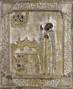 Icona con riza in metallo argentato raffigurante San Serghie di Radonej. Mosca XIX [...]