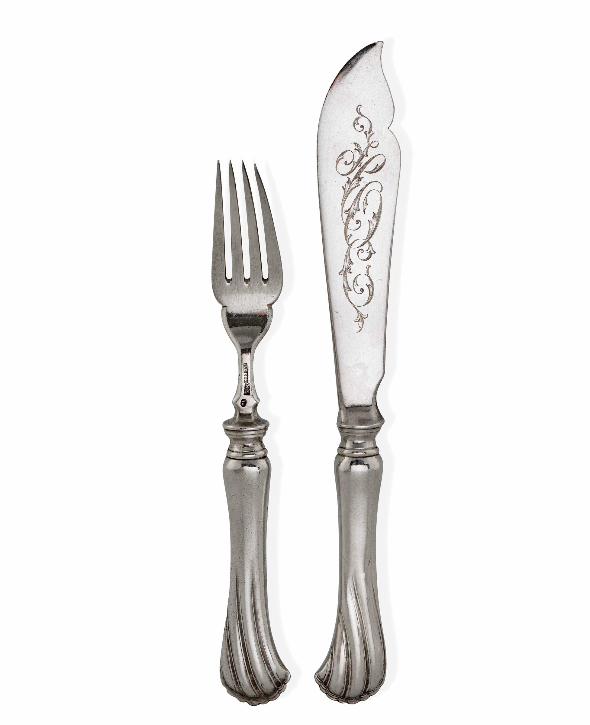 Servizio di 12 posate da pesce in argento composto da 6 forchette e 6 coltelli. Bolli [...]