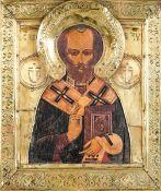 Icona con riza in metallo dorato raffigurante San Nicola. Russia XIX-XX secolo, - cm [...]