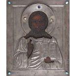 Icona con riza in argento sbalzato, cesellato e pietre cabochon raffigurante Cristo [...]