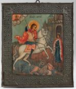 Icona con riza in metallo argentato raffigurante San Giorgio. Arte slava XIX-XX [...]