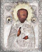 Icona con riza in metallo argentato raffigurante San Nicola. Russia XIX-XX secolo, - [...]