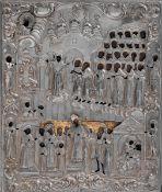Icona raffigurante la Protezione della Deipara (Pokrov) con riza d'argento sbalzato, [...]