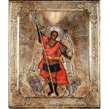 Icona con riza in argento sbalzato, cesellato e dorato raffigurante Santo Arcangelo [...]