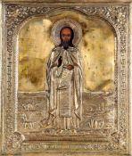 Icona con riza in metallo dorato raffigurante Serghie di Radonej. Russia XIX-XX [...]