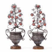A pair of two-handled silver filigree vases, Palermo punches probably Sicily 18th [...]