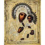 Icona raffigurante la Vergine di Kazan. Riza in argento sbalzato, traforato, [...]