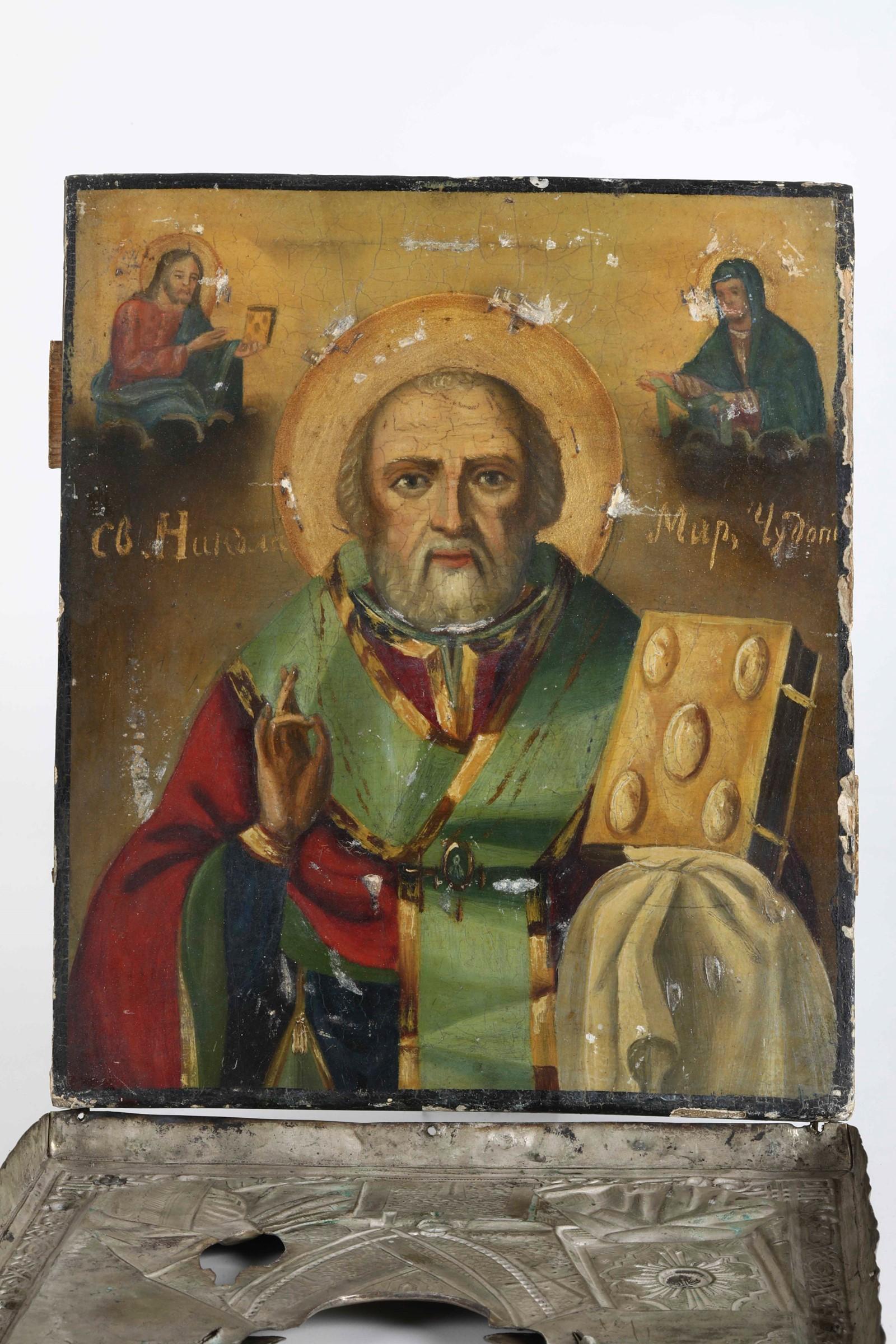 Icona con riza in argento sbalzato e cesellato raffigurante San Nicola. Russia XIX-XX [...] - Image 3 of 4
