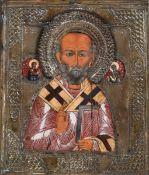 Icona con riza in metallo raffigurante San Nicola. Mosca XIX-XX secolo, - cm 30x25 -
